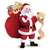 Santa with toy bag and list