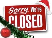 Sorry We're Closed - Christmas decorated sign