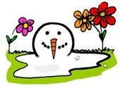Snowman melting - spring flowers