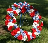 Memorial Day Wreath - Red, White, Blue