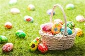Easter Eggs in Basket, on grass