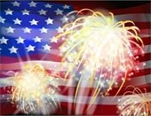 Fireworks over the American Flage