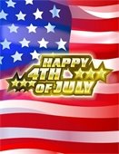 """""""Happy 4th of July"""" over American Flag"""