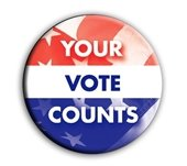 """""""Your Vote Counts"""" Red, White, Blue button"""